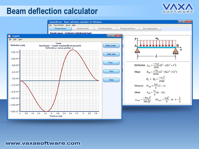 Beam deflection calculator for Windows Screen shot