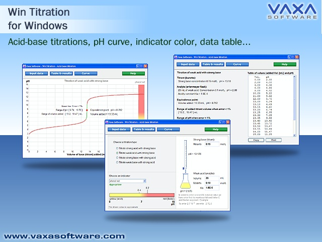Click to view WinTitration. Acid base titration curve screenshots